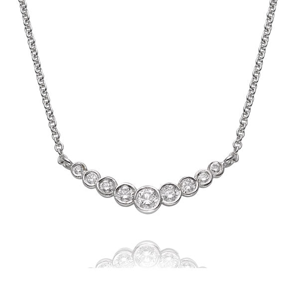 """Dainty"" White Gold Diamond Bar Necklace"