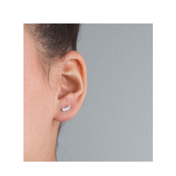 "EC One ""Dainty"" White Recycled  Gold and Diamond Stud Earrings"