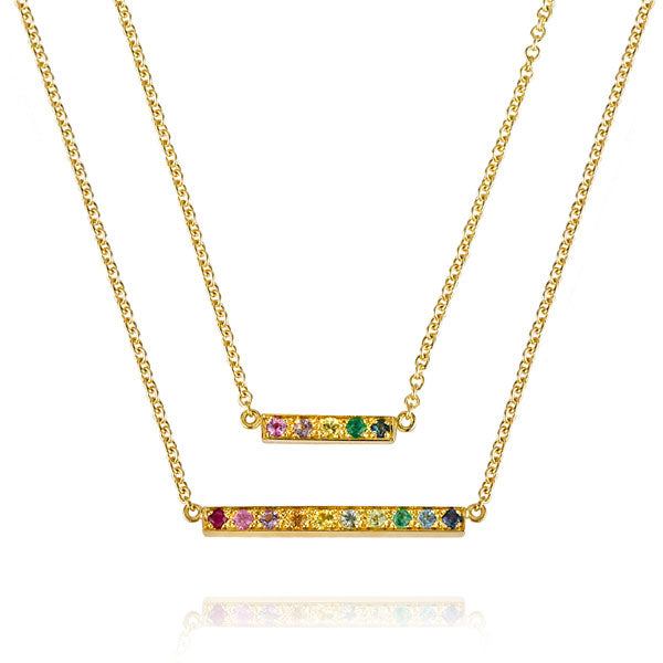 "EC One Long ""Kaleidoscope"" Gemstone recycled Gold Bar Necklace"