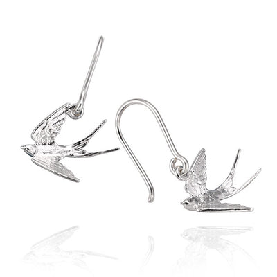 EC One Alex Monroe Swooping Swallow Silver Hook Earrings