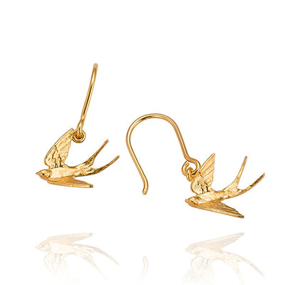 EC One Alex Monroe Swooping Swallow Gold Hook Earrings