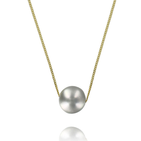 Single Grey Pearl Gold Necklace