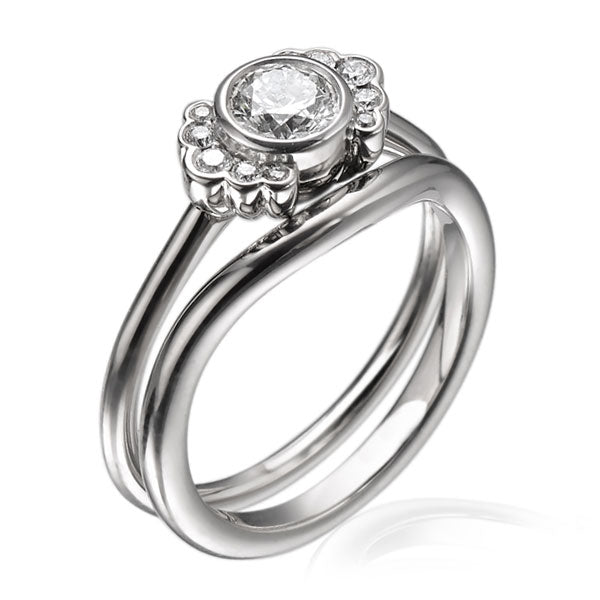 "EC One ""Dainty"" Engagement ring Curved Shaped Fitted Wedding Ring"