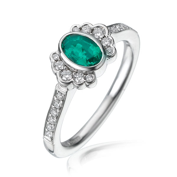 """Dainty"" Oval Emerald Demi Halo Ring"