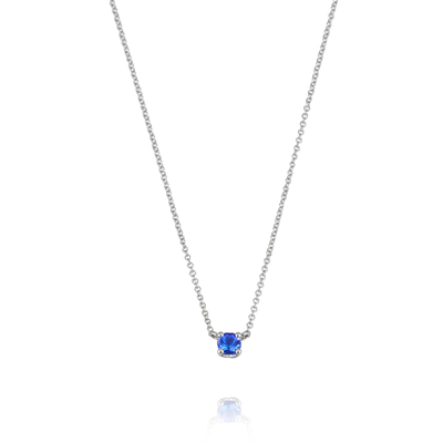Small Tanzanite Tulip White Gold Necklace