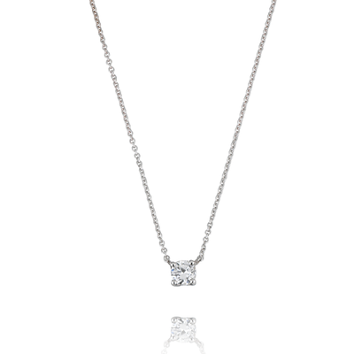 EC One solitaire Diamond claw White Gold pendant Necklace