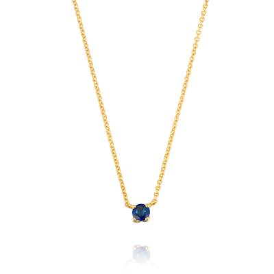 Blue Sapphire Tulip Gold Necklace