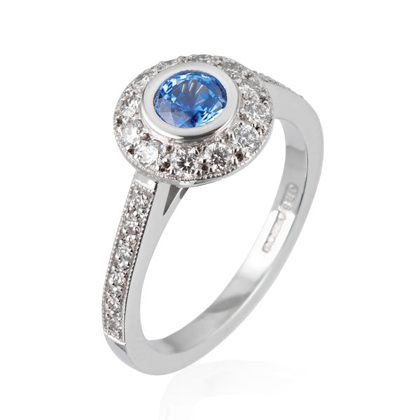 "EC One ""Emma"" Blue Sapphire and Diamond Halo Engagement Ring"