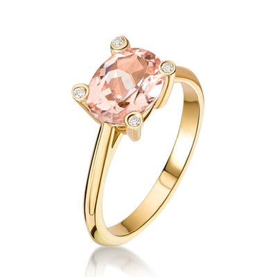 """Lola"" Morganite Diamond Yellow Gold Ring"