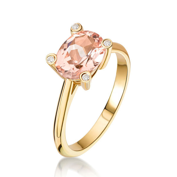 "EC One ""Lola"" Morganite Diamond Yellow Gold Ring"