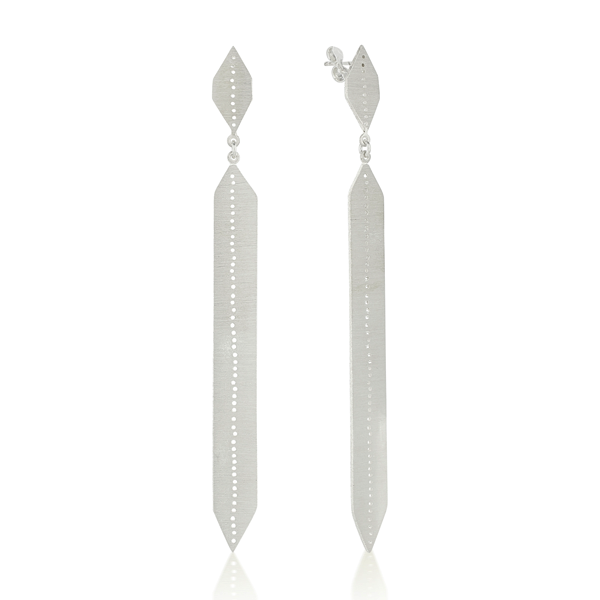Long Drop Angular Drilled Silver Earrings
