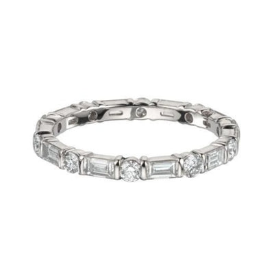 EC One 1.20ct Brilliant Baguette Diamond Bar Set Eternity Ring