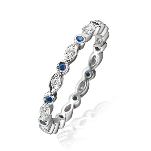 Round & Marquise Sapphire Diamond White Gold Eternity Ring