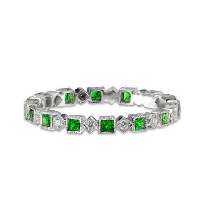 EC一Ungar and Ungar Tsavorite Diamond Eternity Band wedding Ring