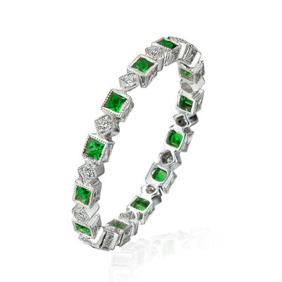 Square & Rhomboid Tsavorite Diamond Eternity Band