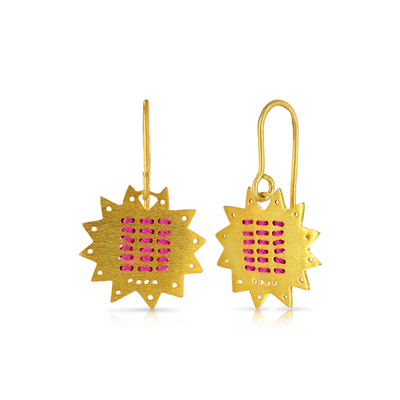 Star Stitched Pink Gold Hook Earrings
