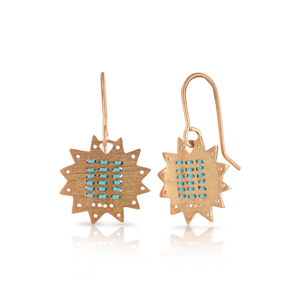 Star Stitched Blue Rose Gold Hook Earrings