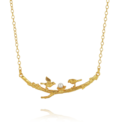 Twigs and Nest Gold Pearl Necklace