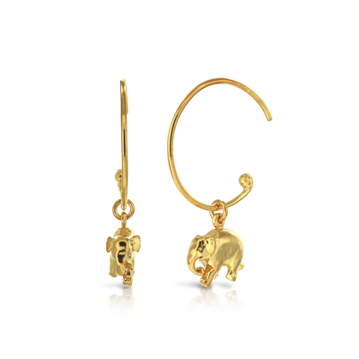EC One Alex Monroe Elephant Gold Hoop Earrings