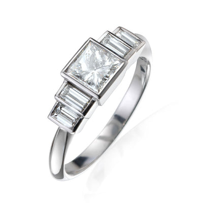 """Evelyn"" Diamond White Gold Ring"