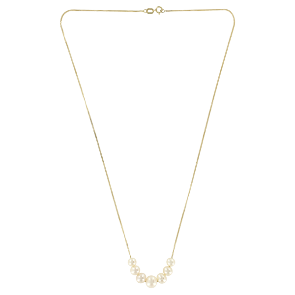 EC One Graduated Line White Pearl Gold Necklace