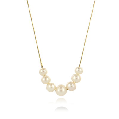 Graduated Line White Pearl Gold Necklace