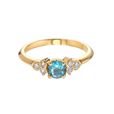 EC One 'Hatty' Aquamarine Diamond Recycled Gold Ring