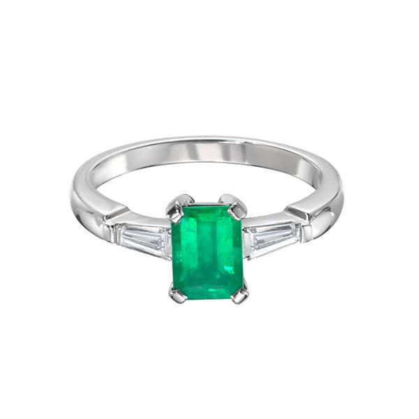 "EC One ""Ella"" Deco Style Emerald Diamond Platinum Ring"