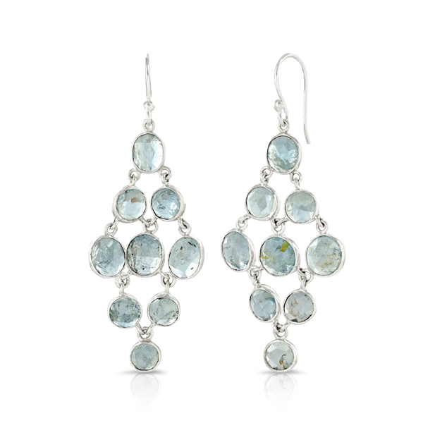 Tara Chandelier Aquamarine Silver Earrings