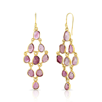 Tara Chandelier Pink Tourmaline Gold Earrings