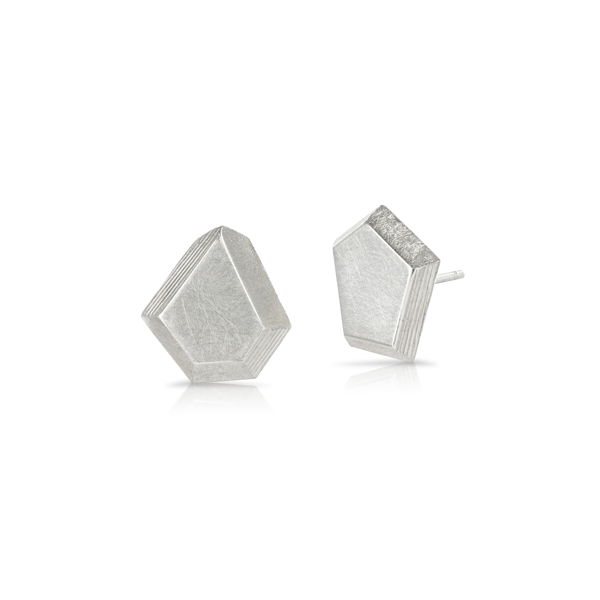 Faceted Silver Stud Earrings