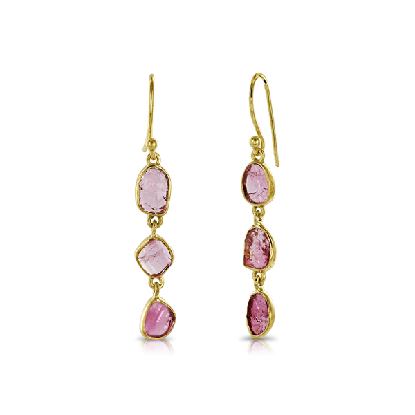 Triple Drop Rough Pink Tourmaline Gold Earrings