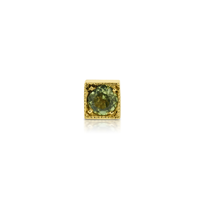 EC One Kaleidoscope Peridot Single Stud recycled Gold Earring