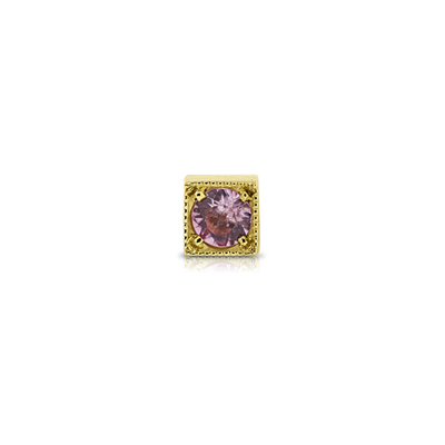 Kaleidoscope Pink Sapphire Single Stud Gold Earring
