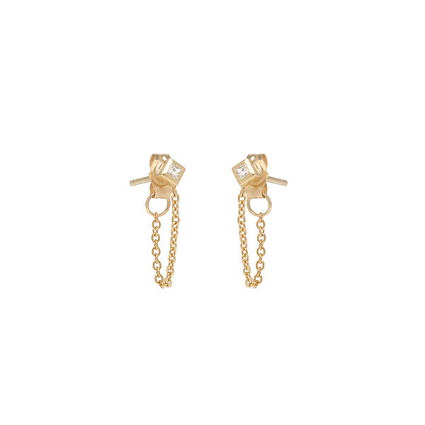 Princess Cut Diamond Gold Chain Stud Earrings