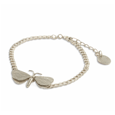 EC One Alex Monroe Drab Looper Moth In-line Silver Bracelet