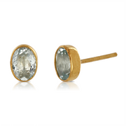 Aquamarine Gold Plated Stud Earrings