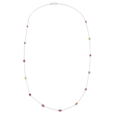 Long Tara Necklace Mixed Tourmaline Silver
