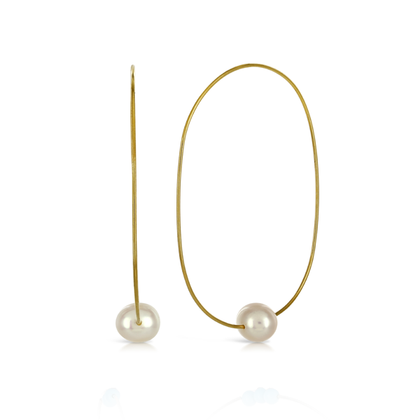EC One Melissa McArthur Gold Plated Oval Hoop Earring With Pearl