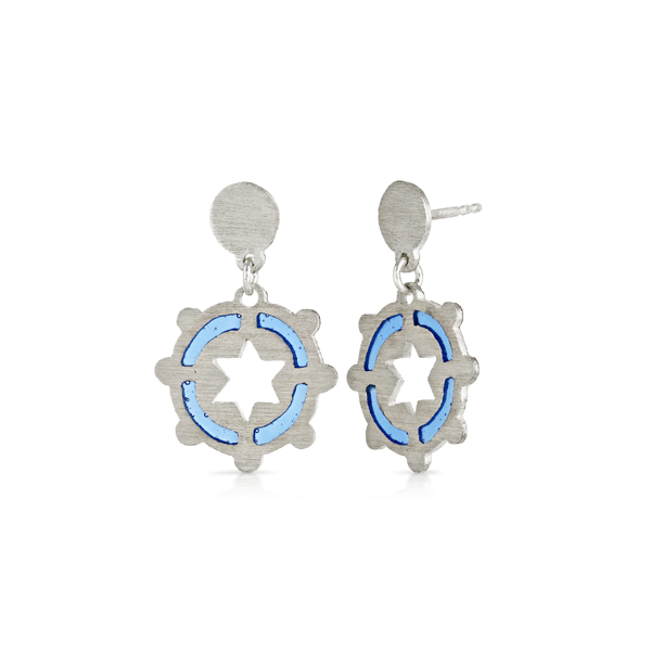 Silver Blue Enamel and Star Drop Stud Earring
