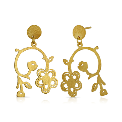 Gold Plated Drop Stud Flower Earrings