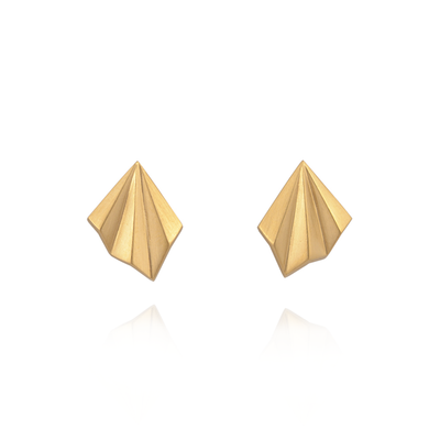 Pleated Gold Studs