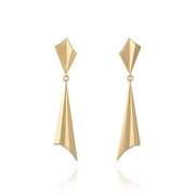 EC One Alice Barnes Pleated Gold Drop Earrings