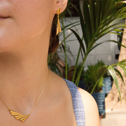 Pleated Gold Drop Earrings