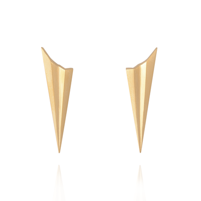 Long Pleated Gold Studs
