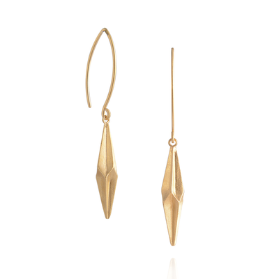 Shard Pleated Gold Hook Earrings