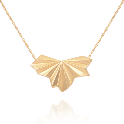 Pleated Fan Gold Necklace