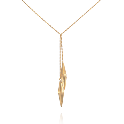 Shard Double Drop Gold Necklace