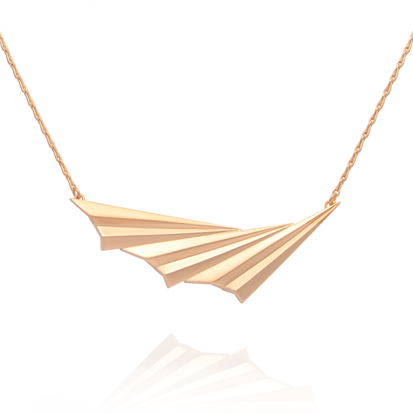 EC One Alice Barnes Pleated Wave Gold Necklace