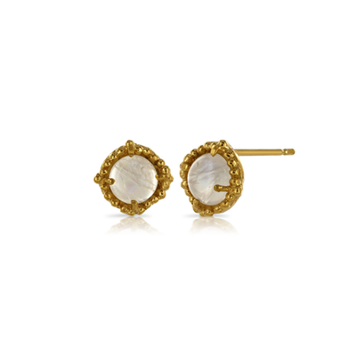 Round Moonstone Gold Plated Stud Earrings